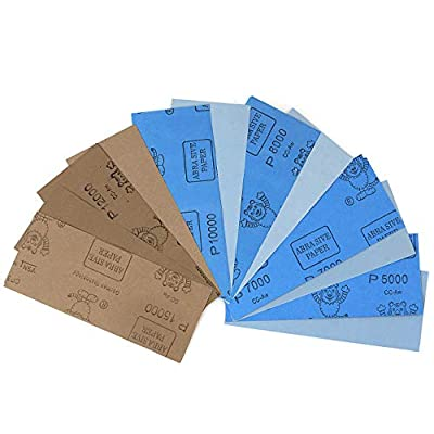 ADVcer 9x3.6 inch 18 Sheets Sandpaper, Wet or Dry 5000-15000 Grit 6 Assortment Sand Paper, Super Fine Precision Abrasive Pads for Automotive Sanding, Wood Turing Finishing, Metal Furniture Polishing