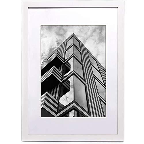ARTWIND Weißer A3-Bilderrahmen mit A4-Halterung, Massivholz, Befestigungsmaterial zum Aufhängen für die Wandmontage im Hoch- oder Querformat (1 Packung)