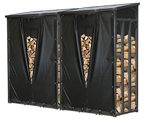 QUICK STAR 2 pièces Étagère en métal pour Bois de cheminée Anthracite 130 x 70 x 185 cm Distance Entre Les Bois 3,2 m³ avec protection contre les intempéries Noir