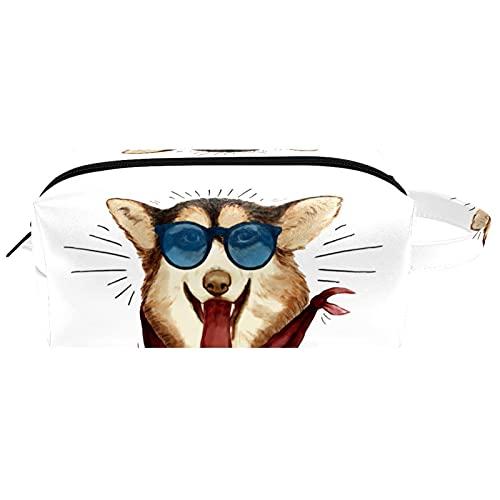 Bolsas de cosméticos de viaje portátiles, bolsa de cepillo con asa de transporte, perro divertido con gafas de sol, bolsa de aseo impermeable, organizador de accesorios para mujeres y niñas