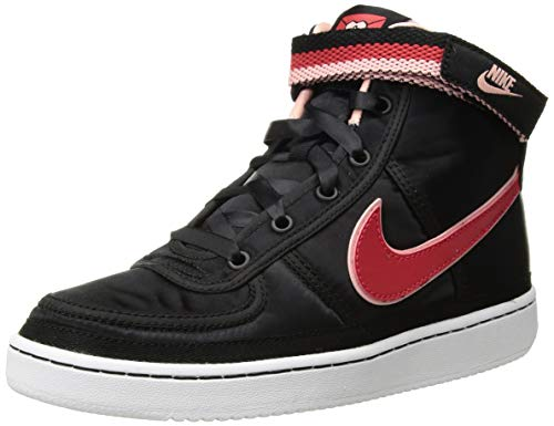 NIKE Kid's Vandal High Supreme QS (GS), Black/Speed Red-Bleached Coral, Youth Size 6
