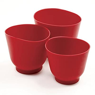 Norpro 3 Piece Silicone Bowl Set, Red