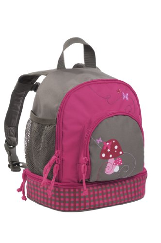 LÄSSIG Kinderrucksack Kindergartentasche mit Brustgurt/Mini Backpack Mushroom Magenta