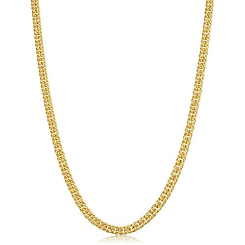 Solid 14k Yellow Gold Filled 4.3 mm Double Curb Link Chain Necklace for Men and Women