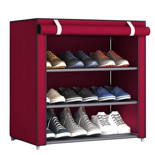 Evisen Scarpiera in tessuto per interni, esterni e armadio con cerniera - Organizzatore scarpe per camera, campeggio, ingresso