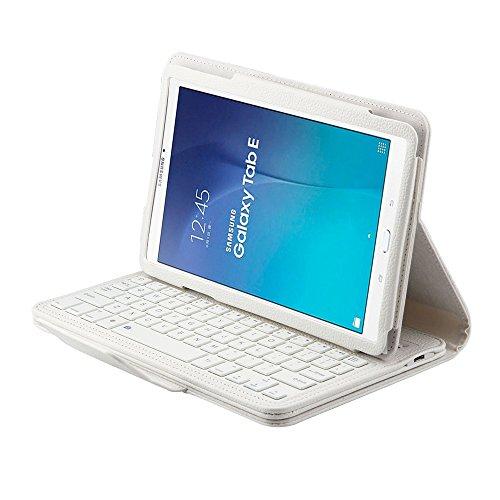 SCIMIN Samsung Galaxy Tab E 9.6 Folio Funda, Galaxy Tab E 9.6, funda de piel inteligente con teclado Bluetooth extraíble para Samsung Galaxy Tab E 9.6 [T560/T561]