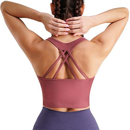 TrainingGirl Women Strappy Racerback Yoga Sports Bra Longline Crop Top Camisole Wirefree Pads Medium Impact Workout Bras (Bean Pink, Large)