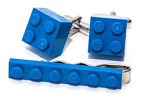 Bleu Authentique Lego Pince à Cravate et Boutons de Manchette – Funky rétro Cool Boutons de Manchette fabriqué par Jeff Jeffers