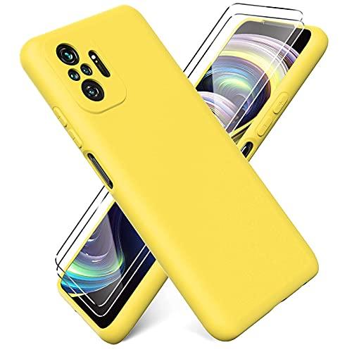 Ikziwreo - Cover per Xiaomi Redmi Note 10 PRO + [2 Pack] Pellicola Protettiva in Vetro Temperato, Custodia Liquid Silicone TPU Cover Ultra-Sottile AntiGraffio Antiurto Case - Giallo