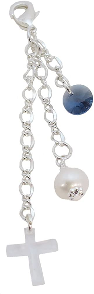 Better Than Buttons Round Blue Crystal, Simulated White Pearl, and Crystal Cross Bridal Bouquet Charm
