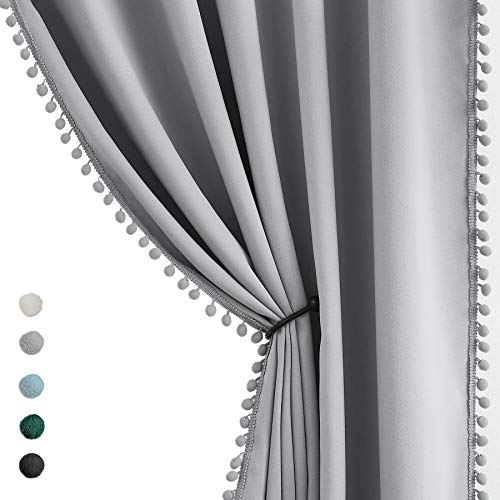 """Grey Pom Pom Curtains for Bedroom 63 inch Thermal Insulated Half Blackout Curtain Panels for Living Room Window Drapes Nursery Kids Guest Room 50"""" w x2 Panels Rod Pocket"""