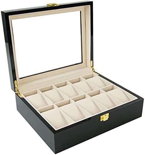 Caja de reloj con tapa de cristal, 10 ranuras para relojes de pulsera y joyas, caja de almacenamiento para colecciones, bandeja de exhibición, organizador