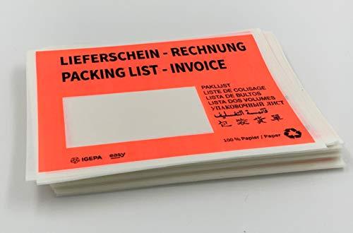 Lieferscheintaschen aus Pergamin-Papier, C6 = 175 x 130 mm, Warenbegleitpapiertaschen, rot mit Aufdruck