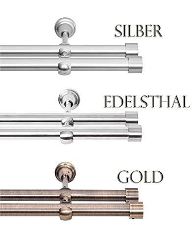 Rollmayer Edelstahl Vorhangstange/Gardinenstange Ø 19mm (200cm Crux, Edelstahl, 2-läufig) einfache Montage Verschiedene Größen und Endstücken Ohne Ringe!