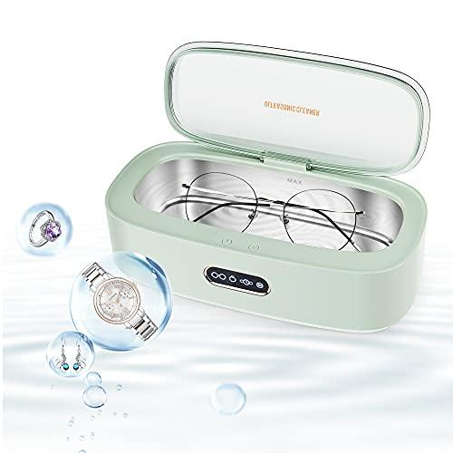 TAISO Ultraschallreiniger 300ml Ultraschallgerät mit 4 Zeiteinstellungen 45000 Hz Edelstahl Haushalts Ultraschallreinigungsmaschine für Brillenuhren Schmuckprothesen