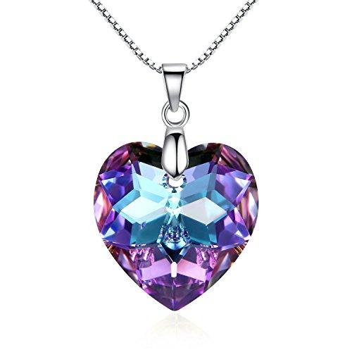 GOSPARKLING Corazón de Cristal Colgante, Collar de Plata esterlina con el Cristal austríaco para Las Mujeres (Vitrail Light)