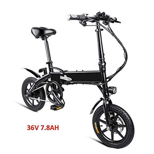QUETAZHI Erwachsene Faltbare Elektro-Fahrrad, Zahn Brushless Motor 250W, 36V / 7.8AH Lithium-Ionen-Batterien, DREI Arten von Riding Mode, Männer und Frauen Mode Mofas QU526 (Color : Black)