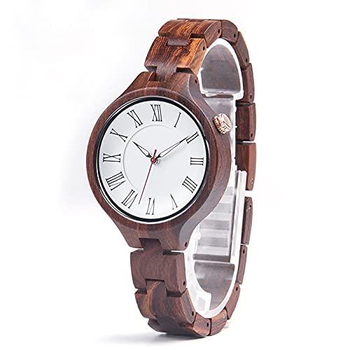 Reloj de sándalo rojo de las señoras Reloj de negocios de esfera blanca Reloj de negocios Japanese Cuarzo Movimiento Combinación de tecnología y naturaleza Salud y regalos ligeros Cumpleaños de Navida