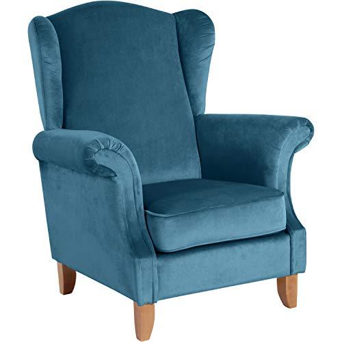 Max Winzer® Ohrensessel Verita, petrol (blau), Samtvelours, Retro, Romantik, Landhaus, 88 x 84 x 108 cm
