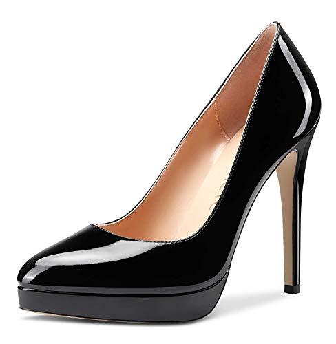 CASTAMERE Scarpe col Tacco Plateau Donna Moda Tacco a Spillo 12CM High Heels Nero Pelle Verniciata Scarpe EU 37.5