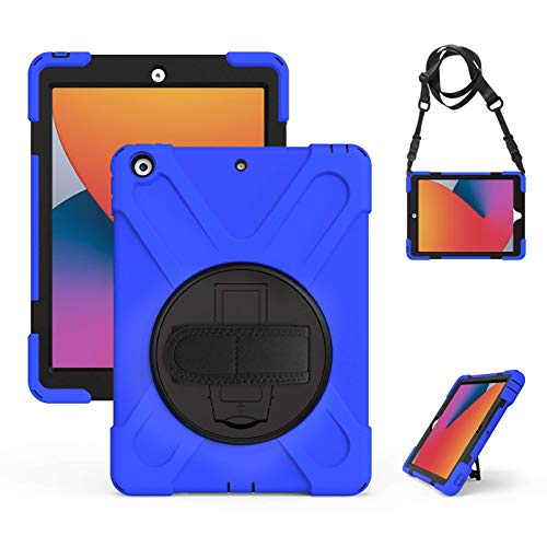 Gerutek New iPad 8th/7th Generation Case, iPad 10.2 case 2020/2019, Heavy Duty Shockproof Kids friendly Case with Pen Holder/360 Rotatable Stand/Hand/Shoulder Strap Rugged Case for iPad 10.2 inch,Blue