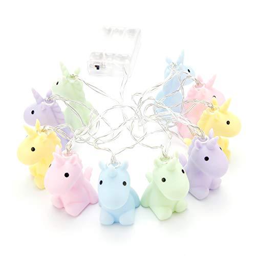 Unicorn Einhorn Lichterkette Pastell Pastellfarben, aus Kunststoff, batteriebetrieben, in...