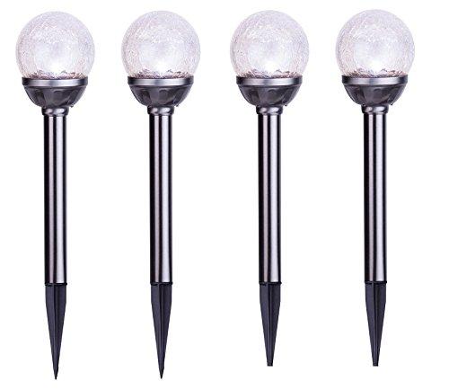 BUVTEC 4er Set Solar Steckleuchte Kristallglas Premium Solarlampe Leuchte Kugeln LED Edelstahl Gartenkugel
