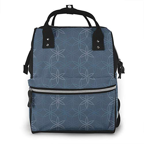 JUKIL Zaino per pannolini Blue Leaf Six Side Pattern Diaper Bag Backpack Multifunction Travel Back Pack Maternity Baby Nappy Changing Bags
