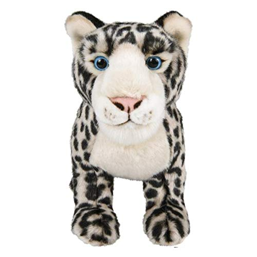 """12"""" Standing Stuffed Animals for Boys & Girls, Safari Baby Shower Decorations, Soft Plush, Nursery Décor, Huggable Soft Toys, Realistic Features, Elephant, Lion, Wolf, Rhino & More (Snow Leopard)"""