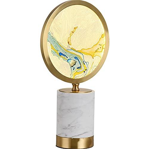 BNMK Lámpara de Mesa Lámpara de Mesa cilíndrica de Cobre mármol Cama de Color Faro de la Cama Circular Lámpara de Mesa de Cristal Exquisita LED Decorativa LED
