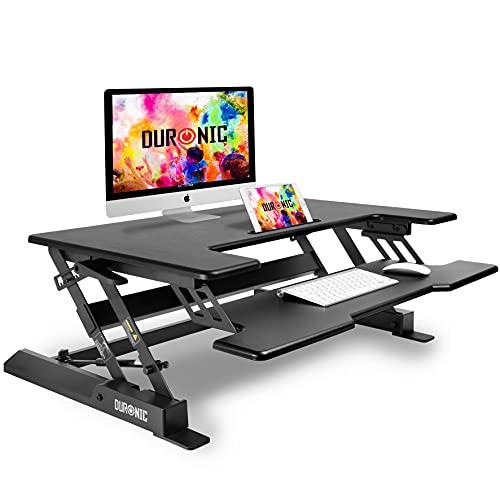 Duronic DM05D1 BK Escritorio Standing Desk para Monitor con Altura Ajustable de 16 a 41 cm, Superficie de 56 x 92 cm – Mesa para Trabajar de pie y Sentado