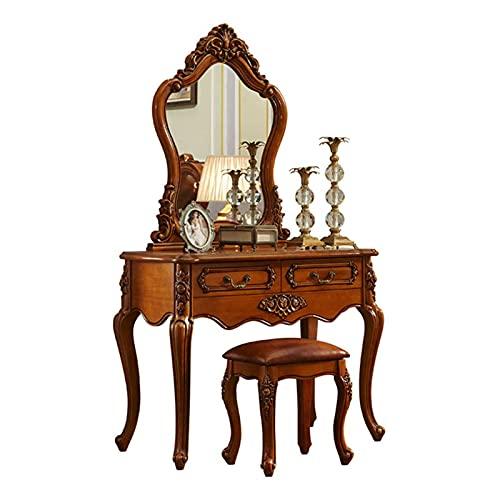 Tabla de vanidad - Conjunto de mesa de madera maciza retro clásico - mesa cosmética - Muebles de dormitorio de escritorio de maquillaje, tocador con taburete, espejo y 2 cajones de almacenamiento