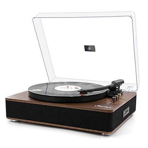 LP&NO.1 Record Player, Classic Bluetooth Turntable with USB Recording, 3 Speed Vinyl with Pitch Control,Support 3-Sizes of Records