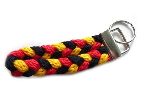Schlüsselanhänger Schlüsselband in schwarz rot gelb (gold) aus Strickliesel-Schnüren