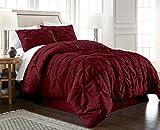 Chezmoi Collection Berlin 3-Piece Pintuck Pinch Pleat Bedding Comforter Set (Queen, Burgundy)