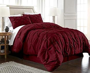 Chezmoi Collection Berlin 3-Piece Pintuck Pinch Pleat Bedding Comforter Set  Queen Burgundy