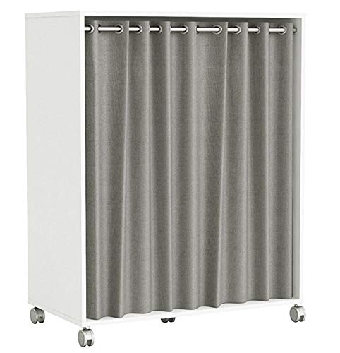 habeig KLEIDERSCHRANK #310 mit Rollen + Vorhang offen BEGEHBAR weiß grau 100x120cm