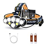 NewDoar LED Rechargeable Headlamp Flashlights 10000 Lumen,8 Light Modes and red Emergency Light Mode with Multi-Lighting Tool,Headlights for Running, Camping, Fishing, Hiking etc(A 8 Bulbs)