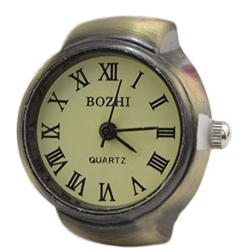 VektenxiHervorragende römische Mädchen elastische Kind perfekte Uhr praktische Ring Quarz verwendbar Fingerring Uhr Quarzuhr Stahl für Frauen und Mädchen langlebig und nützlich