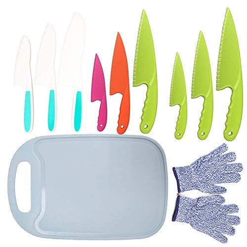 11Pcs Kids Plastic Knife SetBPAFree Children#039s Safe Cooking Knife Set 9Pcs Kid Nylon Knives With Cut Resistant GlovesAges 612ampCutting Board for FruitBreadCakeLettcueSalad Blue