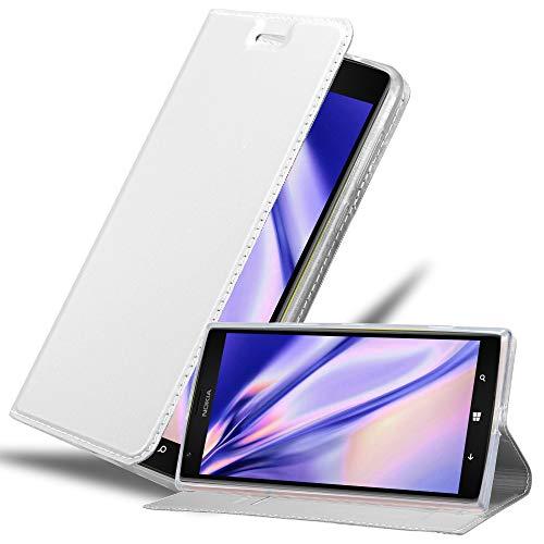 Cadorabo Hülle für Nokia Lumia 1520 in Classy Silber - Handyhülle mit Magnetverschluss, Standfunktion & Kartenfach - Hülle Cover Schutzhülle Etui Tasche Book Klapp Style