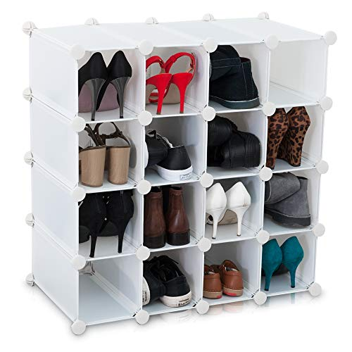 LIVIVO  New Interlocking 16 Pairs Cube Shoe Organiser Rack Storage Shelves Display Stand Comes With Back Panel - For Shoes Boots Handbags, Books, Toys - Easy To Assemble (White)