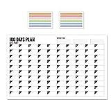 Pichidr-JP 壁掛けカレンダー プランナー デスクパッドウォールカレンダー 分厚い紙 整理と計画に最適 罫線入りブロックとサイドレコードコラム 100日(ステッカー 2付き) 45 x 70cm