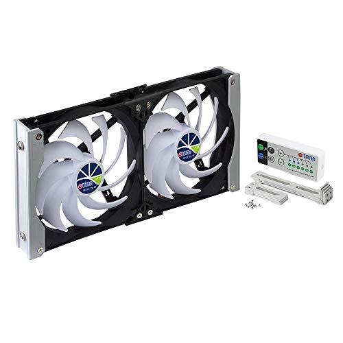 TITAN - Ventilador de enfriamiento de ventilación de Montaje en Bastidor Doble a Prueba de Agua de 12 V CC IP55 y con Temporizador y Controlador de Velocidad (140mm)