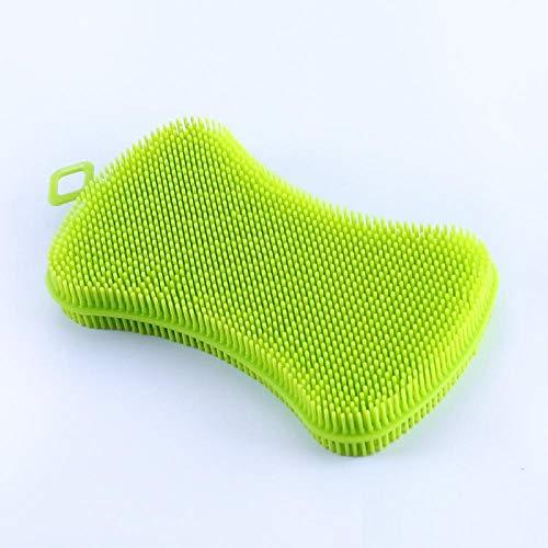 voor Keuken Food Grade zeep-vormige Silicone Multifunctionele afwasborstel Non Scratch Groen