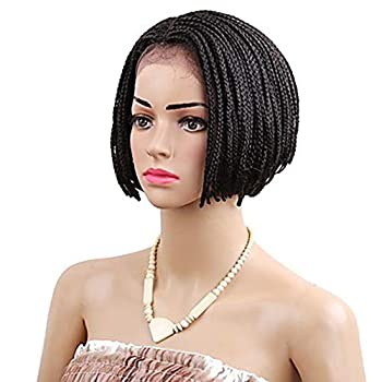 Twist Braids Synthetic Lace Front Wig Box Braids Style Short Bob Ombre Wig  Black