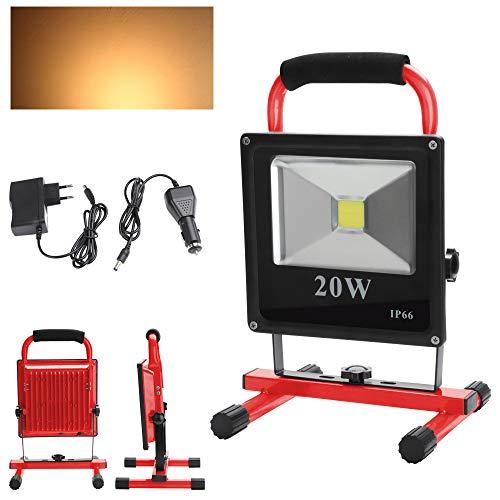 Hengda LED Baustrahler Akku Strahler 20W Warmweiß, 1600lm, 3000K, IP66 Wasserdicht inkl. Standgestell und Tragegriff für den Innen- und Außenbereich