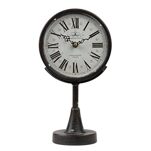 Lily's Home Antique Inspired Decorative Mantle Clock with Large Roman Numerals, Battery Powered with Quartz Movement, Fits with Victorian or Antique Décor Theme, Black (11 3/4' Tall x 6 1/2' Wide)