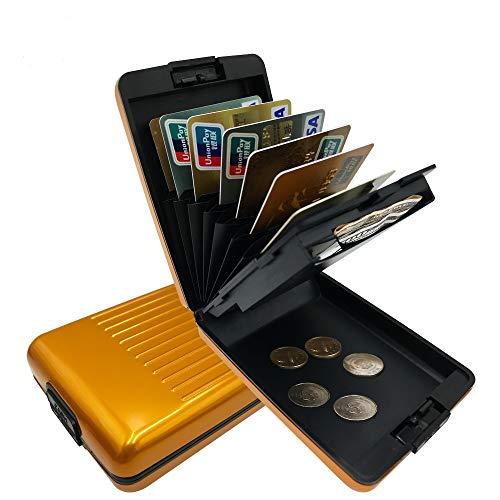 ANSSOW RFID Blocking Credit Card Holder Protector Metal Aluminum Travel Wallet Case for Men Women Gold