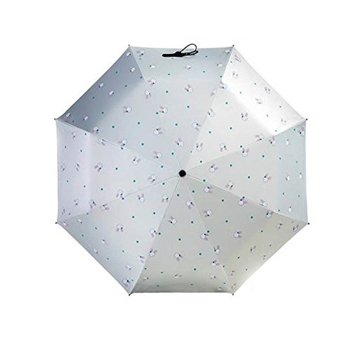 Black Temptation Compact Travel Foldable Umbrella Winddicht Leicht mit Anti-UV/Slip Griff, Häschen, Creme-Farbe